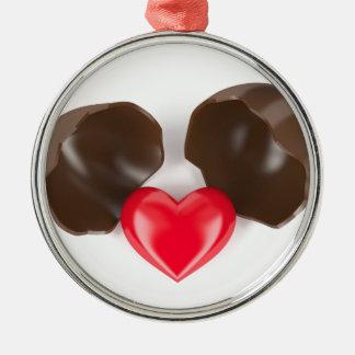 Schokoladenei und -herz silbernes ornament