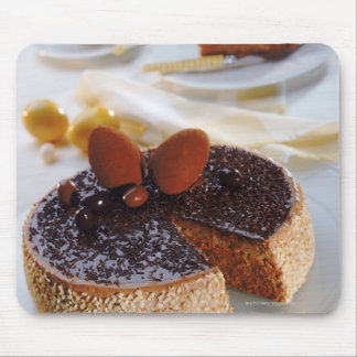 Schokoladenkuchen auf Platte, Nahaufnahme Mauspad
