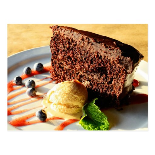Schokoladenkuchen mit KaramellEiscreme Postkarten