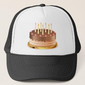 Schokoladenkuchen mit Kerzen 2 Truckerkappe