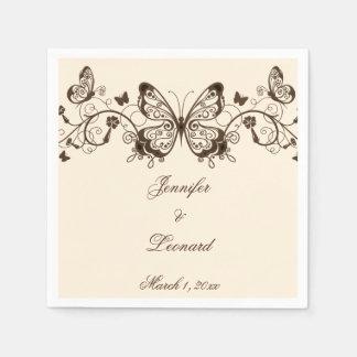 Schön elegante Schmetterlings-Hochzeits-Servietten Papierserviette