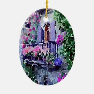 schön, mit Blumen, Balkon, Venedig, Itally, malend Keramik Ornament