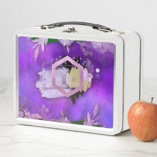 schön, ultraviolett, abstrakt, Collage, Silber, f Metall Lunch Box
