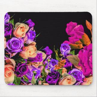 Schöne abstrakte Blumen-schwarzer Hintergrund Mousepads