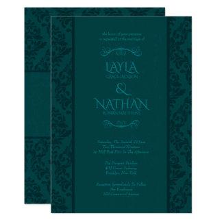 Schöne aquamarine Damast-Hochzeits-Einladungen Karte