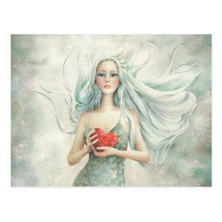 Schöne ätherische Zahl und Herz Postkarte
