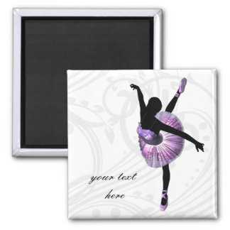 Schöne Ballerina in Lila Quadratischer Magnet