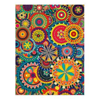 Schöne Beschaffenheits-buntes mit Blumenmuster Postkarte