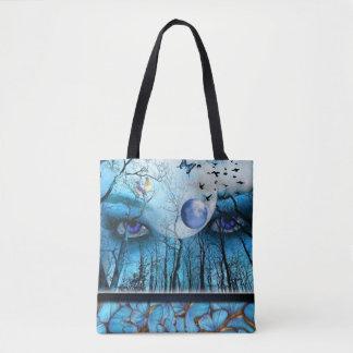 Schöne blaue Augen, die Natur aufpassen Tasche