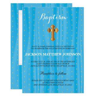 Schöne blaue u. weiße Satin-Taufe/Taufe Karte