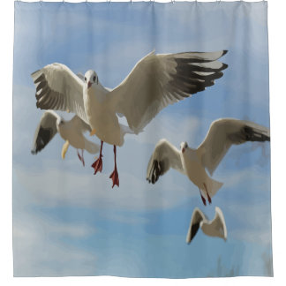 Schöne blauer Himmel-Seemöwe-Vogelkunst Duschvorhang