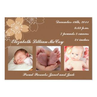 Schöne Blumen-Baby-Mitteilung 12,7 X 17,8 Cm Einladungskarte