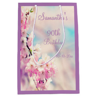 Schöne Blüten-90. Geburtstags-Party Mittlere Geschenktüte