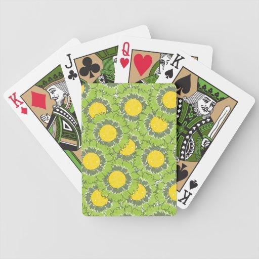Schöne Blüten-Spielkarten - Grün