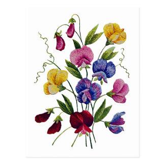 Schöne, bunte, gestickte süße Erbsen Postkarte