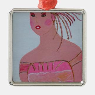 Schöne Dame 3.JPG Quadratisches Silberfarbenes Ornament