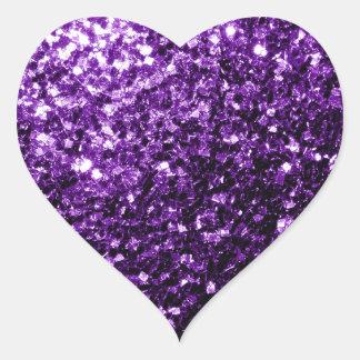 Schöne dunkle lila Glitter-Glitzern Herz-Aufkleber