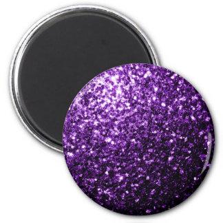 Schöne dunkle lila Glitter-Glitzern Runder Magnet 5,7 Cm