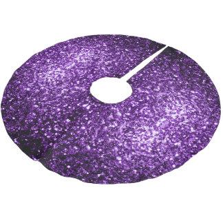 Schöne dunkle lila Glitter-Glitzern v2 Polyester Weihnachtsbaumdecke