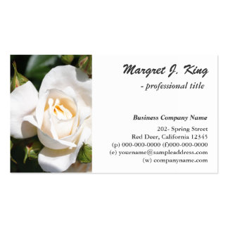 Schöne, elegante weiße Rosen-Blume beruflich Visitenkartenvorlage