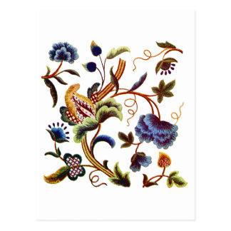 Schöne elisabethanische Jacobean Stickerei Postkarte