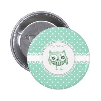 Schöne Eule mit Polka-Punkten in aquamarinem Button