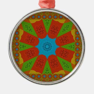 Schöne fantastische afrikanische weibliche rundes silberfarbenes ornament