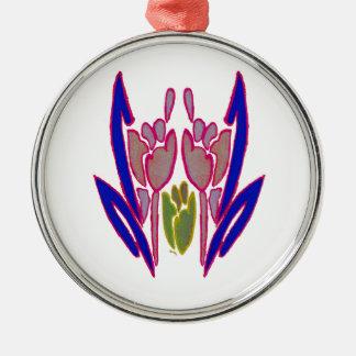 Schöne fantastische reizende Kunst Farben des Rundes Silberfarbenes Ornament