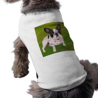 Schöne französische Schwarzweiss-Bulldogge auf Top