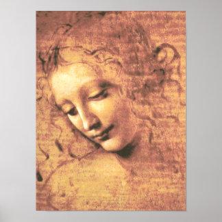 Schöne Frau durch Leonardo da Vinci Poster