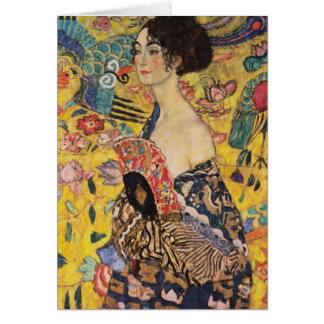 Schöne Frau mit Fan durch Klimt Grußkarten