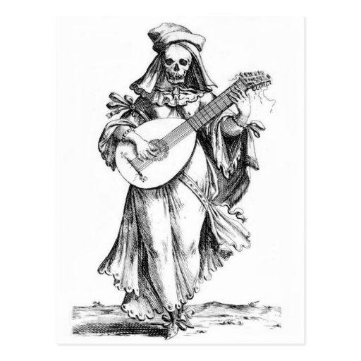 schöne Frau skeleton Songstreßpostkarte Postkarten