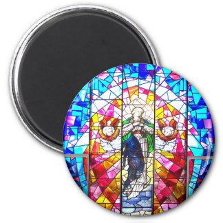Schöne friedliche bunte gemalte Glasengel Runder Magnet 5,1 Cm
