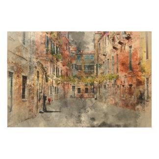Schöne Gebäude in Venedig Italien Holzdruck