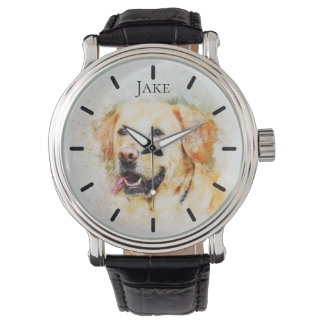 Schöne gelbe Labrador-Gewohnheit personalisiert Armbanduhr