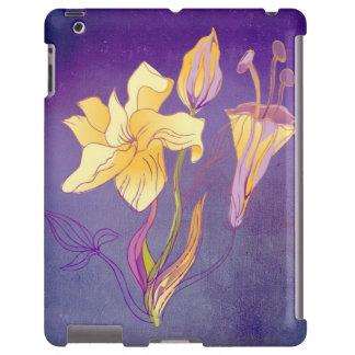Schöne gelbe Lilien auf weichem lila Hintergrund iPad Hülle