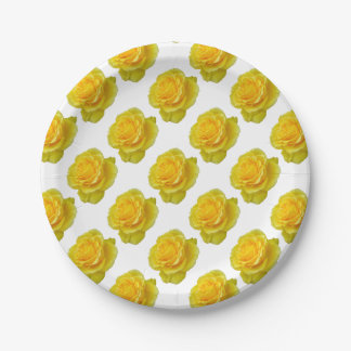 Schöne gelbe Rosen-Nahaufnahme abgeschieden Pappteller