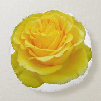 Schöne gelbe Rosen-Nahaufnahme abgeschieden Rundes Kissen