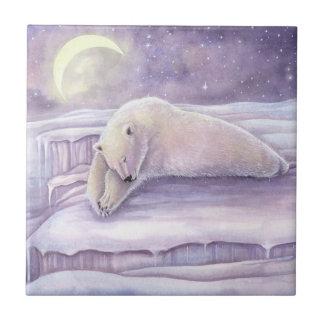 Schöne gemütlich schlafen Eisbär-Grafik Keramikfliese