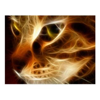 Schöne gespenstische Feuer-Katze Postkarte