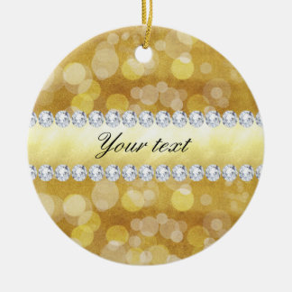 Schöne GoldBokeh Folie und Diamanten Keramik Ornament