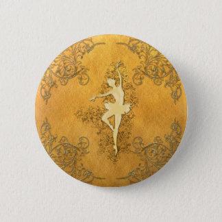 Schöne goldene Ballerina Runder Button 5,7 Cm