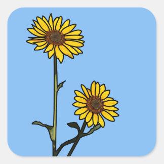 Schöne goldene Buntglas-Sonnenblumen Quadratischer Aufkleber