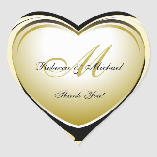 Schöne Goldherz-Hochzeit danken Ihnen Aufkleber