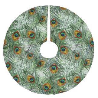 Schöne grüne Pfau-Feder Polyester Weihnachtsbaumdecke