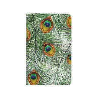 Schöne grüne Pfau-Feder Taschennotizbuch