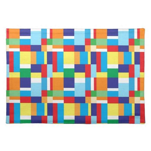 Schöne helle bunte Blockkarierte Quadrate Tischset  Zazzle