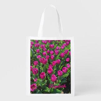 Schöne helle rosa Tulpen Druckname Wiederverwendbare Einkaufstasche