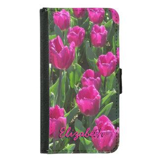 Schöne helle rosa Tulpen personalisiert Geldbeutel Hülle Für Das Samsung Galaxy S5