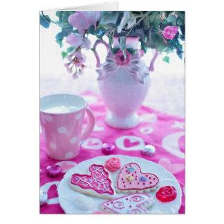 Schöne Herz-Valentinsgruß-Tabellen-Einstellungen Karte